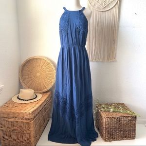 Altar'd State Mala Embroidered Halter Maxi Dress